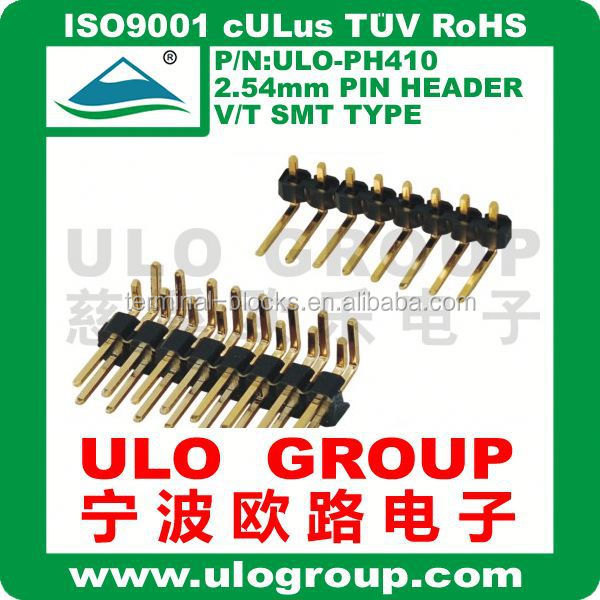 2.54mm single row Pin header R/A Type 6 poles ULO Gtoup Gold-Plated China supplier