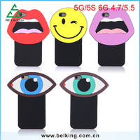 Factory Price!!! For iPhone 5S/6S/6S Plus Silicon 3D Smart Cartoon Phone Cover Rubber Case