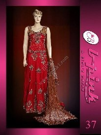Pakistani Bridal Dresses( Red Katan Silk Lengha )