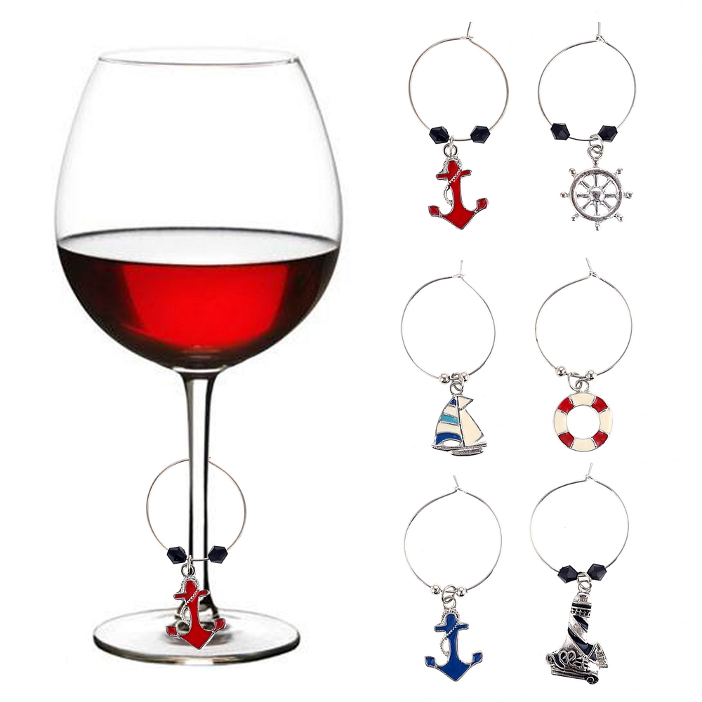 WM-10242A Nautical Boat Theme <strong>Wine</strong> Charm Life Ring Anchor Ship Wheel Boat Oars Compass For Sea Dreaming
