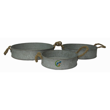 3 Piece Set Gray Large Round Galvanized Tray
