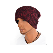 Unisex Winter Soft Stretchy Curled Knit Slouchy Beanie Skully Ski Cap Hat Purple
