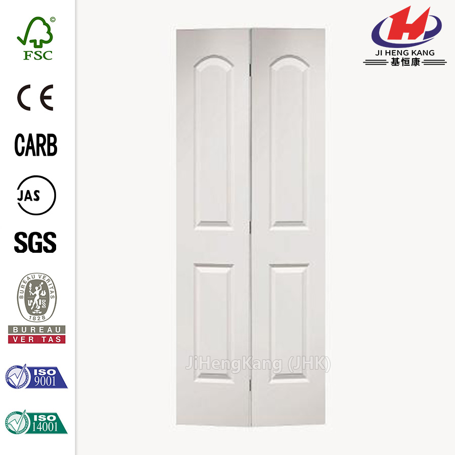 24 in. x 80 in. Roman Smooth 2-Panel Round Top Hollow-Core Primed Composite Interior Closet Bi-fold Door