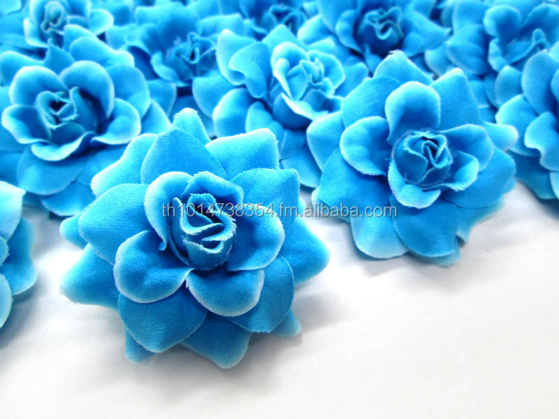 High Quality Artificial Silk Flowers Blue Rose Heads For Wedding And