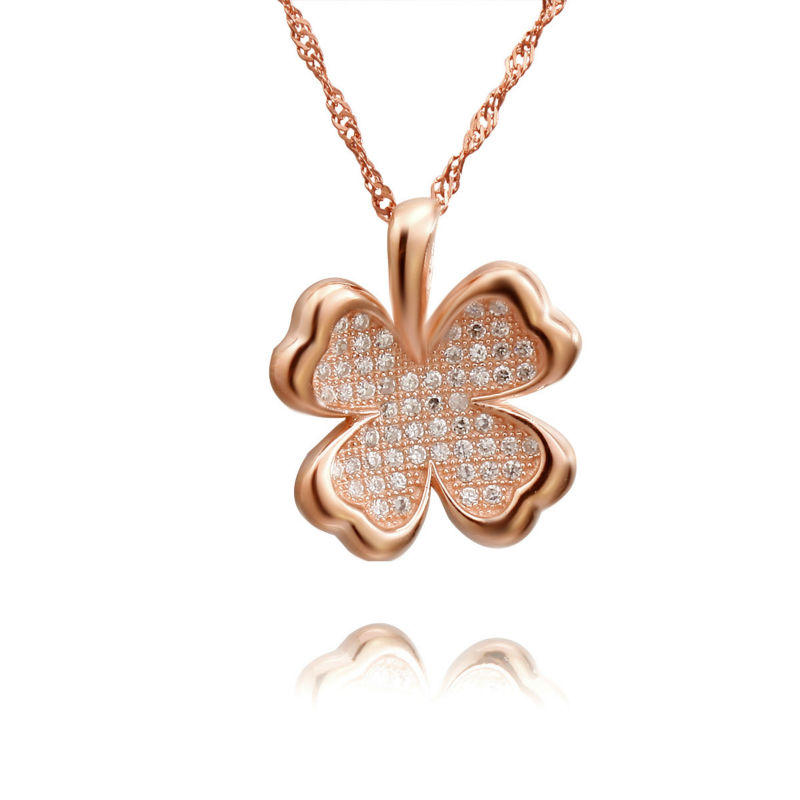 Zirconia Silver rose gold-plating four-leaf clovers pendent/necklace