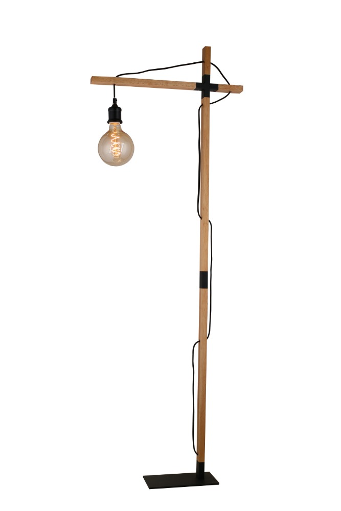 simple and natural wooden cross floor lamp, timber floor light with metal base