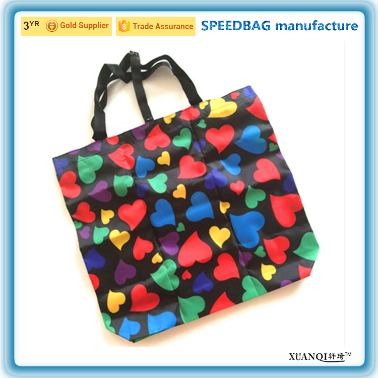 190T new style design polyester foldable shopping tote bag