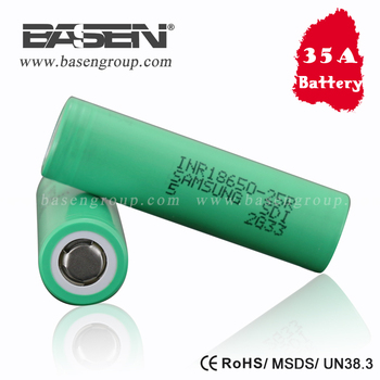 Big Sale!! Green Samsung 25r 18650 2500mah rechargeable battery 3.7v 35amp discharge li ion cells with flat top inr18650 25r