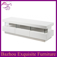 white high gloss wood LED light tv stand