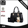 Fashion Wind Hit Color Patent Leather Bag Set Leather Tote Bag With Animal Pendant