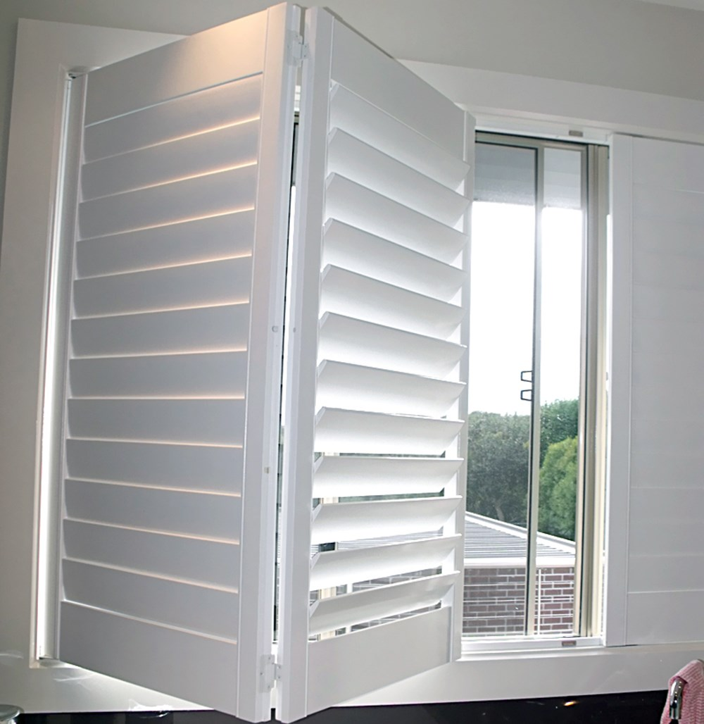 Custom white outdoor wood louver windows