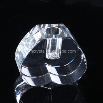 2016 New design crystal glass heart vase for wedding