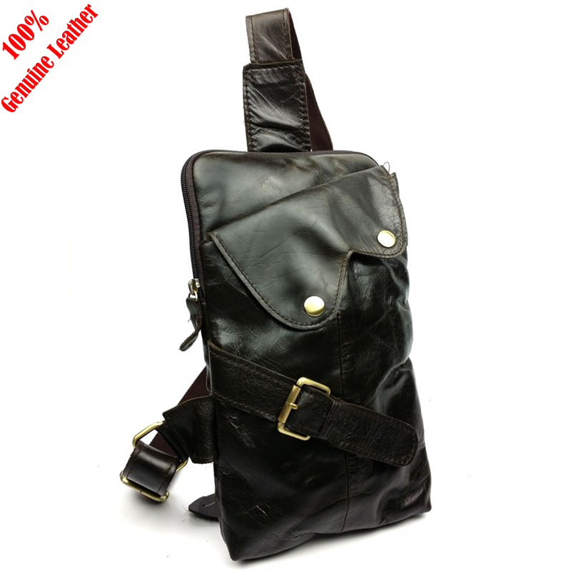Hot 2015 New fashion design 100% genuine leather bag men messenger bags casual leather men chest bags vintage men shoulder bags