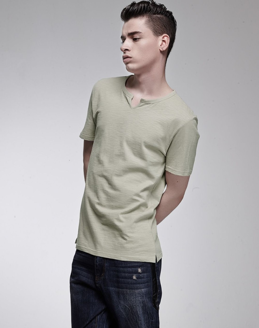Slub cotton v-neck short sleeve clothing tshirts for men wholesale factory price