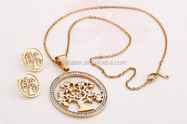 High Quality Crystal Tree Design Dubai Gold Plated Jewelry Set