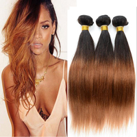 Hot sell natural human brazilian two tone color straight ombre hair weaves