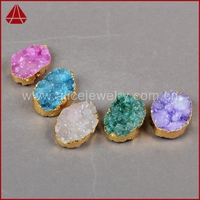 Bulk cheap gold plating assorted colors druzy agate pendant jewelry