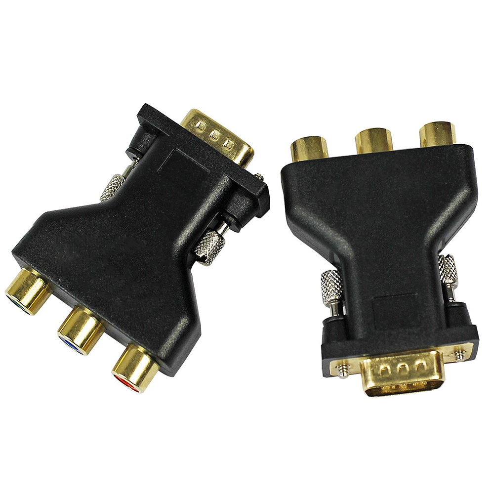3 RCA YUV RGB Video Female To HD15-Pin VGA Component Video Jack Adapter