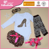 Fashion Baby Girls Long Sleeve Cotton Bodysuit + Leopard Shorts + Shoes + Leg Warmers + Headband 5pcs/set Newborn Baby Clothes