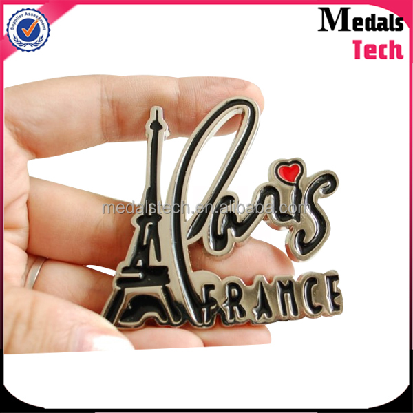 Custom epoxy resin metal 3D paris shape travel souvenir resin fridge magnet