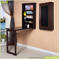 Functional Wall Mount Floating Folding Computer Desk For Home Office PC Table,Brown