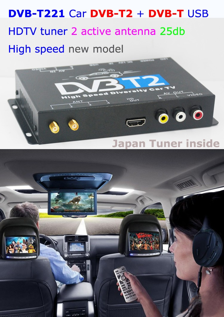 DVB-T221 Car dvb-t2 TV tuner diversity digital receiver set top box Antenna support multi PLP