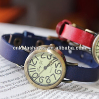 little cute number face with thin leather band wrist womens watches