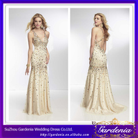 Gorgeous Bling Champagne Colored V-neck Cross Back Heavily Beaded Bodice Mermaid Long Customize Fashion Lady Dress(ZX861)