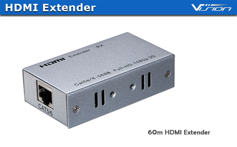 Vision argent 60 m HDMI extender sur Ethernet simple chat 5e/6