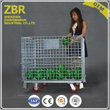 Heavy duty used wholesale security custom size foldable storage cage with wheels