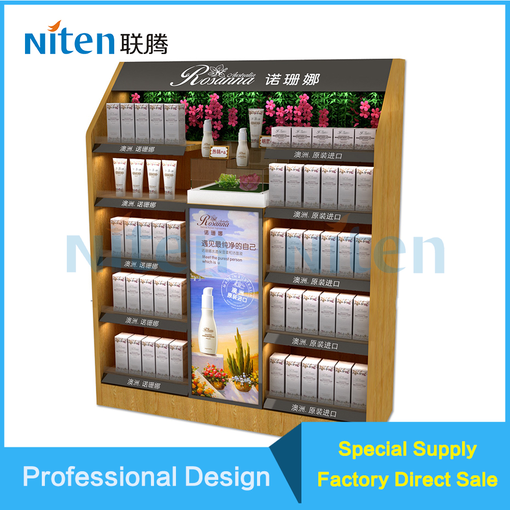 High Quality Pet food mdf plywood display stand for skincare cosmetic product