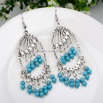 New Vintage Hollow Turquoise Drop Long Bohemian Earrings For Lady's Jewelry Wholesale