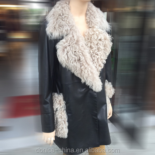 lamb nappa leather women coat model manufacture women's long coat