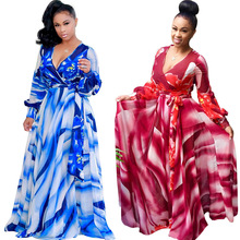 B33567A African flower print new fashion Women V neck long Maxi Dresses