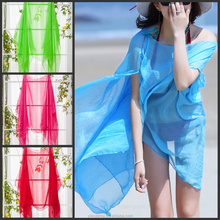Plain Soft Long Pearl large Chiffon Scarf Shawl Wrap Stole beach scarves 150*100cm