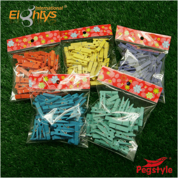 colorful mini wooden clothes pegs 3.5cm 2014 hot selling