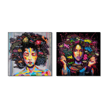 HD Print African American Black Abstract Portrait Wall Art Canvas Afro Women Poster Canvas Painting for Room Wall Decor Dropship