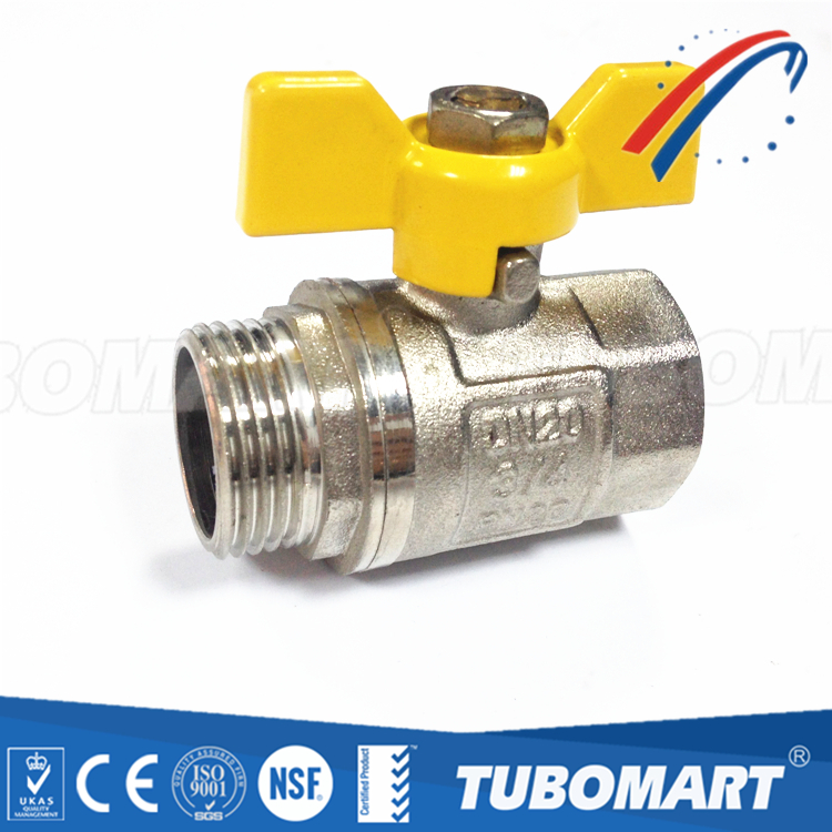 Modern style female and male butterfly handle ball valve for water supply