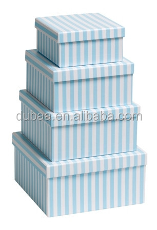 Gift Box - Candy Stripe - Blue/Pink/Black w/ White (Nest of 4)