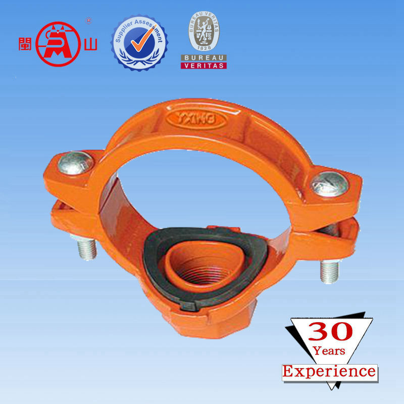 Ductile Iron FM Approved Grooved Fitting Threaded Mechanical Tee