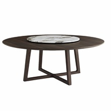 New Design Marble Top Sold Wood Legs Dining Table Turntable