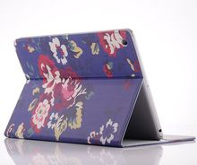 purple flower design case for ipad 3 ,leather cover case for ipad 2 with stand