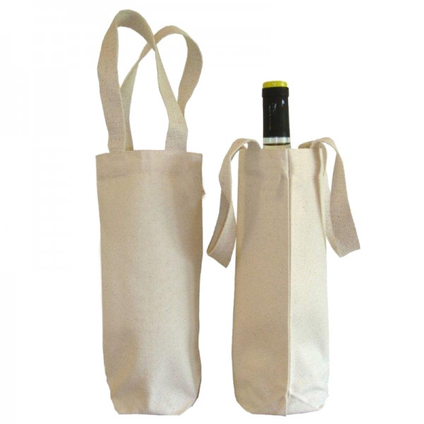 Cotton / canvas wine tote bag wholesale , tote bag for wine on bulk