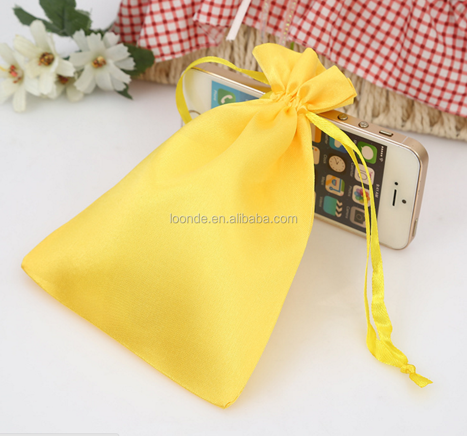 New branded small drawstring satin lucky bag for children