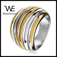 Fashionable New Designs Open Crescent Polished Tri Tone Stainless Steel Cocktail Ring Jewelry