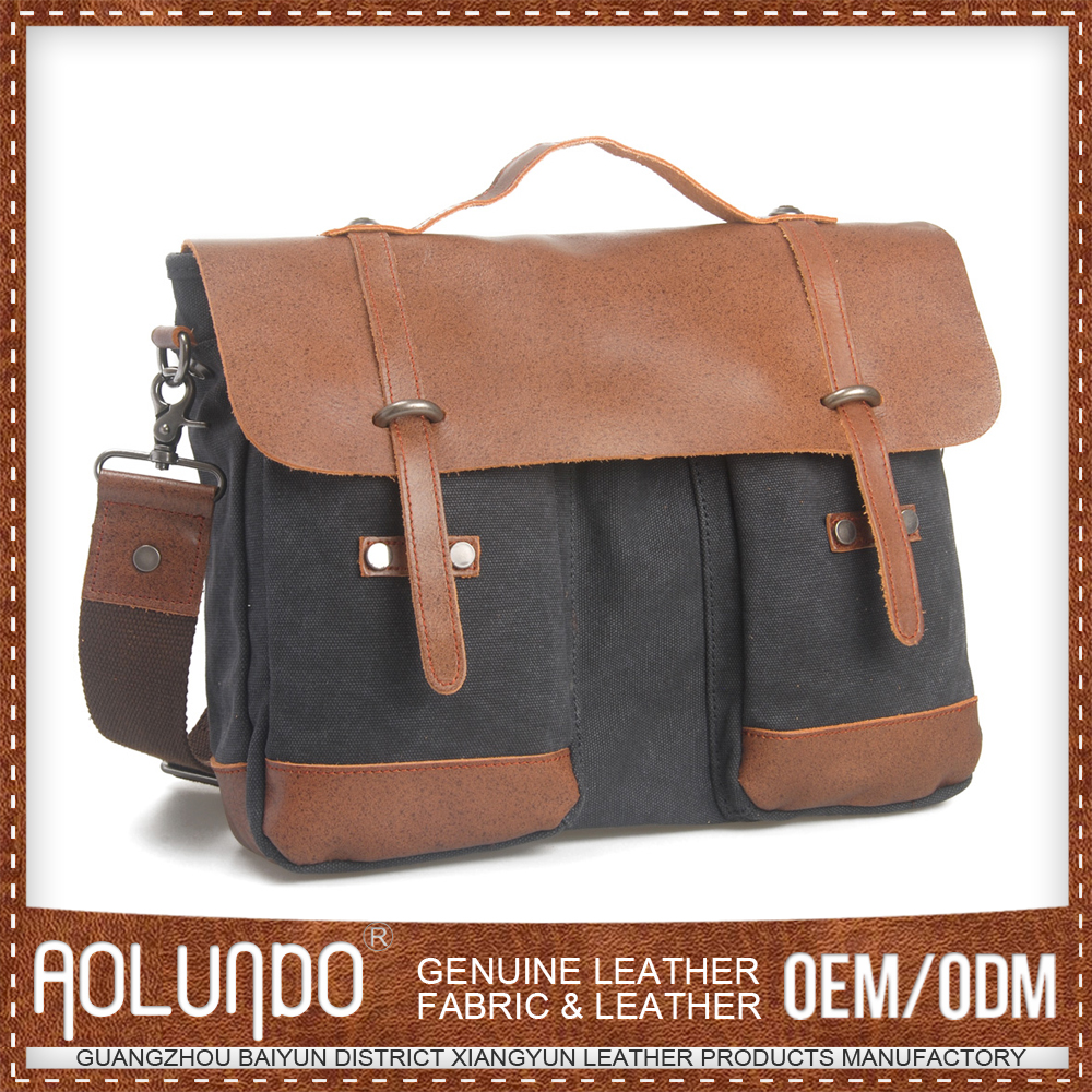 Hot selling 100% cotton with genuine leather laptop briefcase for pilot case
