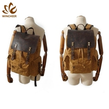 New tan color casual drawstring bags vintage fashion school large capacity brown canvas bag hiking backpack