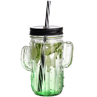 Unique cactus shaped glass mason jar 400ml with handle and straw