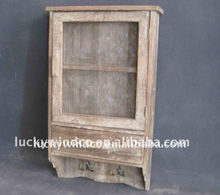 Farmhouse antique wooden wall shelf,shelf with hooks, drawer and door