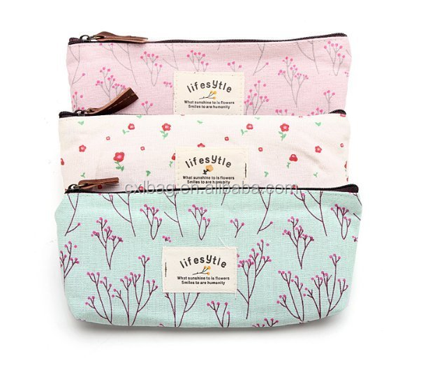 Countryside Flower Pencil Pen Case for Girls, Canvas Lady Cosmetic Makeup Bag